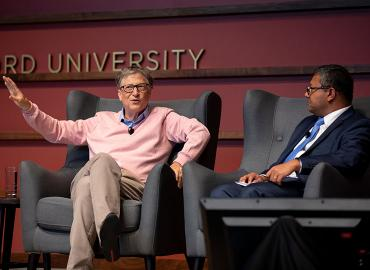 Bill Gates speaking during panel session with Arun Majumdar